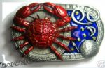 CANCER THE CRAB, ZODIAC HOROSCOPE SIGN BELT BUCKLE + display stand